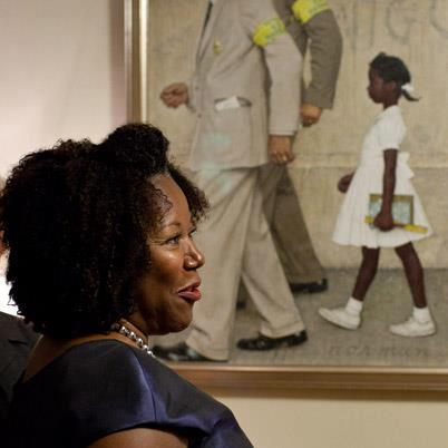 partial Norman Rockwell painting of Ruby Bridges with Ms. Bridges posing