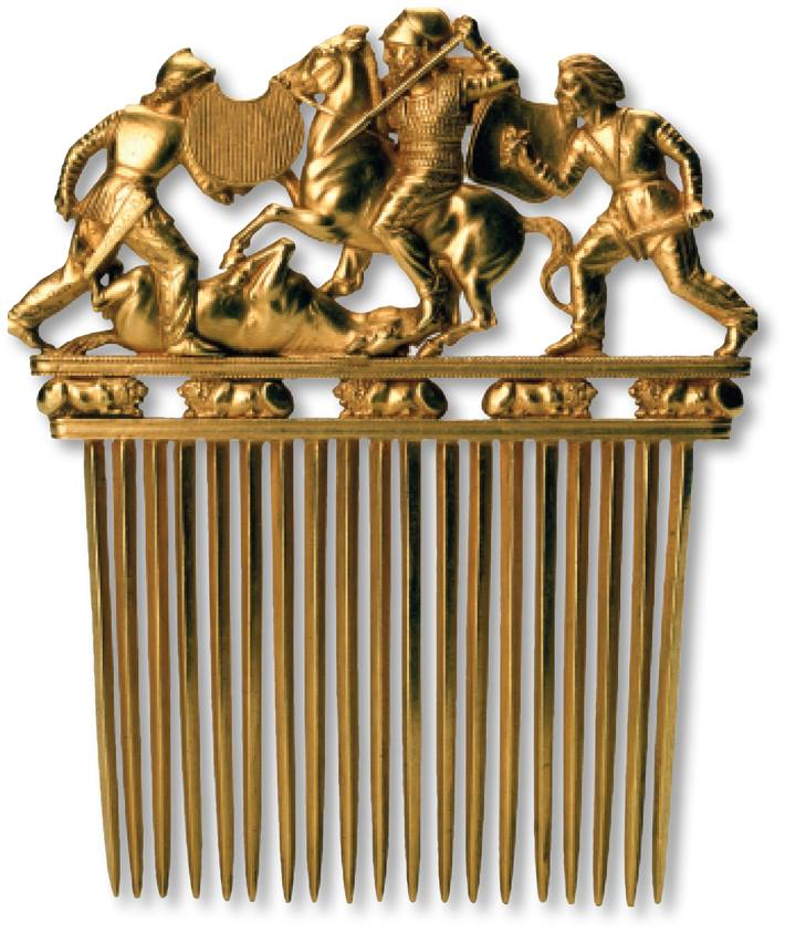The Scythians, who were known as great horsemen and warriors, are portrayed on this gold comb, found in Ukraine and dating to the late 5th to early 4th century B.C..jpg