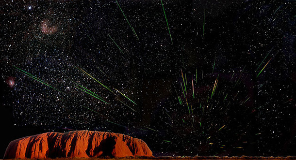 Uluru, a sacred place in the Earth, at night    during the Leonid meteor shower.