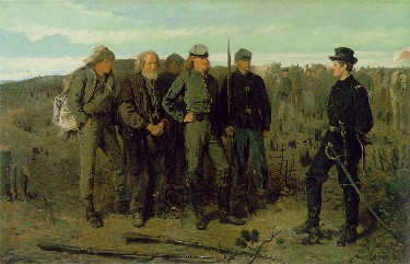 "Winslow Homer ""Prisoners at the Front"" 1863. Union Brigadier General Francis Barlow, Medal of Honor, seven Purple Hearts, talks to Confederate prisoners."